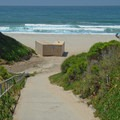 An easy walk down to the beach from the parking lot.- Manresa State Beach
