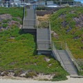 Stairs leading to the parking lot.- Manresa State Beach