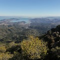 Panorama looking south from East Peak with Mount Diablo (3,864'), the East Bay, San Pablo Bay, the San Francisco Peninsula and the Pacific Ocean in veiw from left to right.- East Peak via Hogback + Fern Creek Trail
