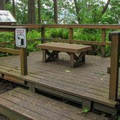 An interprtive platform and viewpoint on the Bluff Trail.- Cama Beach State Park Loop Trails