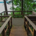 A platform viewpoint along the Marine View Trail.- Cama Beach State Park Loop Trails