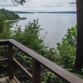 A great view of Cama Beach from the Marine View Loop Trail.- Cama Beach State Park