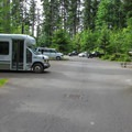 One of the four upper parking lots where you can catch a shuttle down to the beach.- Cama Beach State Park