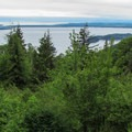 A view of the San Juan Islands from the trailhead at Cyrus Gates Overlook.- Rock Trail