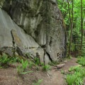 Passing beneath more sandstone walls.- Rock Trail