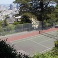 A tennis court is tucked away on the park's north slope.- Buena Vista Park