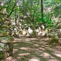 Hundreds of stacked rocks above the lime kilns.- Pogonip Trails