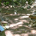 People leave messages in the stacked rocks.- Pogonip Trails