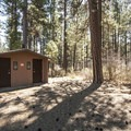 Vault toilet facility in Gorge Campground.- Gorge Campground
