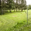 Grass volleyball court in Paradise Point State Park Campground.- Paradise Point State Park Campground