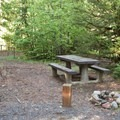 A typical site at Cleator Bend Group Campground.- Cleator Bend Group Campground
