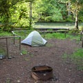 All of the sites have flat tent areas.- Cleator Bend Group Campground