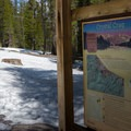 Information about the lake at the trailhead.- Crystal Crag