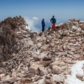 Mount Shasta's summit (14,179').- Mount Shasta: Hotlum-Wintun Ridge