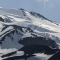 Seracs and crevasses line the Hotlum Glacier.- Mount Shasta: Hotlum-Wintun Ridge