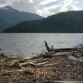 View south of Ruby Mountain (7,408') from Roland Point campsite.- Ross Lake via Diablo Lake