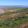 Looking north up Point Reyes Beach from the Lighhouse access trail.- Point Reyes Lighthouse