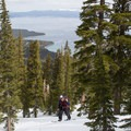 Rubicon's well-spaced glades provide for fantastic lake views.- Rubicon Peak