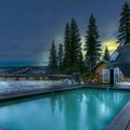The outdoor warm pool is adjacent to a large sundeck overlooking the scenic Sierra Valley. Photo credit: Jivan Child.- Sierra Hot Springs