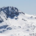 View of Round Top (10,381') and the coveted Crescent Moon Coulor to the south.- Red Lake Peak: Crater Lake Descent