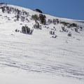 Red Lake Peak's North bowl.- Red Lake Peak: Crater Lake Descent