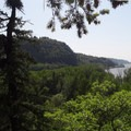Looking west down the Columbia River from Rooster Rock's belay station.- Rooster Rock Climbing Crag