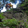 Scrambling to the belay station at Rooster Rock.- Rooster Rock Climbing Crag