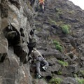 Fixed line on Rooster Rock.- Rooster Rock Climbing Crag