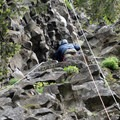 The beginning of the technical section.- Rooster Rock Climbing Crag