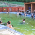 The hot pool in Grover Hot Springs State Park. The pool is colored from minerals in the hot spring water.- Grover Hot Springs State Park