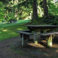 Picnic tables at the summit area.- Little Mountain Park