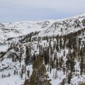 View from The Hump looking northeast. The Pear Lake Basin is in the upper right.- Wolverton to Pear Lake Ski Hut