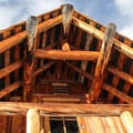 Native timber and granite were used to construct the hut.- Pear Lake Ski Hut
