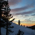 Sunset from the stoop.- Pear Lake Ski Hut