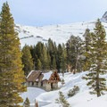 The ski hut sits in an alpine basin in Sequoia National Park. - Pear Lake Ski Hut