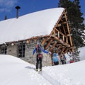 Pear Lake Ski Hut is a welcome sight following the steep 6-mile ski or snowshoe approach.- Pear Lake Ski Hut