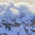 Clouds and weather can quickly roll up the western slope of the Sierra. - Winter Alta Backcountry Ski