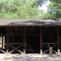 The picnic shelter in Live Oak Campground.- Live Oak Campground
