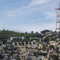 Twin Peaks and San Francisco's iconic Sutro Tower.- Twin Peaks