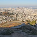 Rising above San Francisco, Twin Peaks Boulevard climbs to the summit.- Twin Peaks