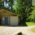 Restroom/shower facility in Dash Point State Park Campground.- Dash Point State Park Campground