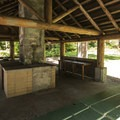 Gig Harbor Picnic Shelter and picnic area in Point Defiance Park.- Point Defiance Park