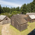View from the top of the Bastion in Fort Nisqually.- Fort Nisqually Living History Museum