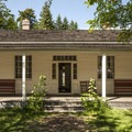 Factor's House in Fort Nisqually. The original building was constructed in 1855.- Fort Nisqually Living History Museum