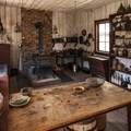 The kitchen in Factor's House, Fort Nisqually.- Fort Nisqually Living History Museum