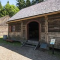Granary in Fort Nisqually. The original building was constructed in 1850.- Fort Nisqually Living History Museum