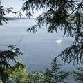 View of Puget Sound's Dalco Passage from the Point Defiance Outside Loop Trail.- Point Defiance Outside Loop Trail