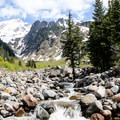 View up the Muddy Fork riverbed with Mount Hood (11,249') in the distance.- Muddy Fork