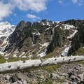 View to waterfalls from the Sandy Glacier.- Muddy Fork