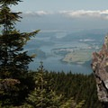 To the west, a view of the Columbia River and Portland.- Larch Mountain, Sherrard Point